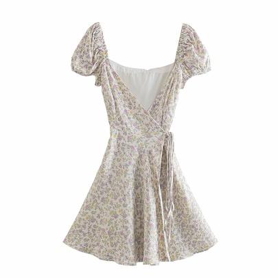 Printed Short-sleeved V-neck Lace-up Dress  NSAM50080