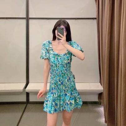 Square Neck Print Bouquet Waist Dress  NSAM50082