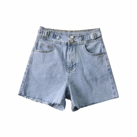 high-waisted two-button loose wide-leg stretch denim shorts NSAC50085
