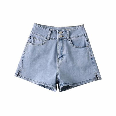 High Waist Button Loose Denim Shorts  NSAC50089