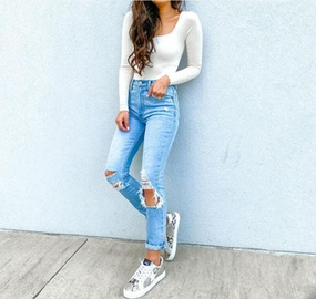 Fashion Washed Pierced Jeans NSYF50090