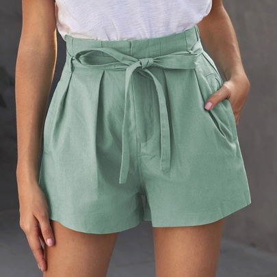 Solid Color Ruffled Elastic Waistband Shorts NSSI50102