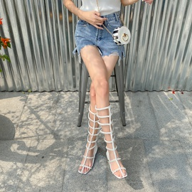 Pearled Chain Decor Cut Out Boots NSSO50115