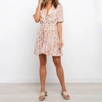 V-neck Bubble Short-sleeved Printed Dress NSJR50143
