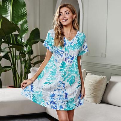 Loose V-neck Short-sleeved Tie-dye Dress  NSSI50215