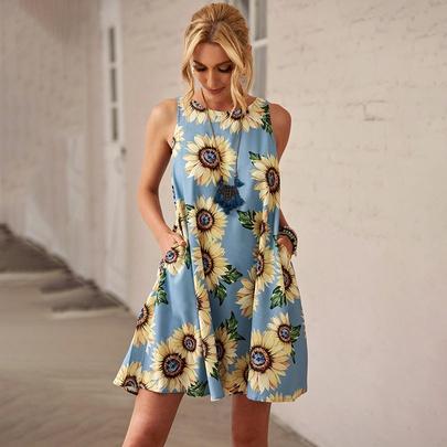 Printed Pocket Round Neck Sleeveless Dress  NSSI50231