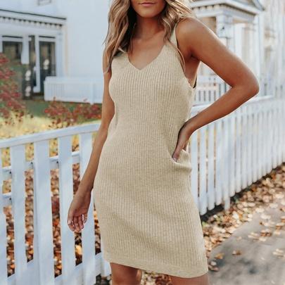 Knitted Solid Color Suspender Short Dress   NSSI50247
