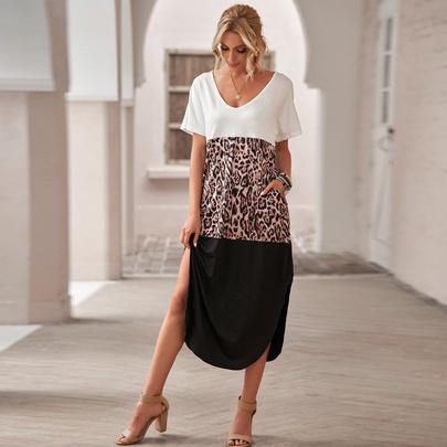 Leopard Print Stitching Short-sleeved Side Slit Dress NSSI50272
