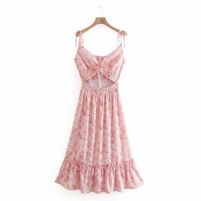 Fashion Flower Drawstring Sling Long Dress NSAM50343