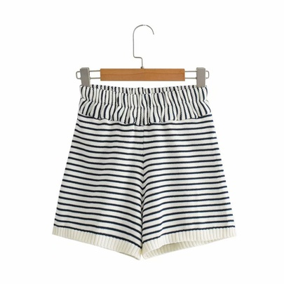 Spring Striped Knitted Shorts NSAM50345