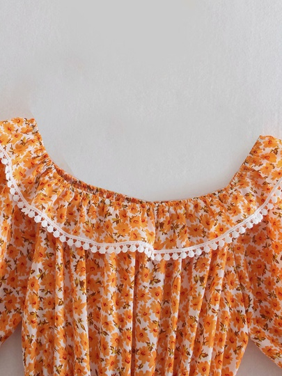 Short-sleeve Watermark Lace Floral Dress  NSAM50346