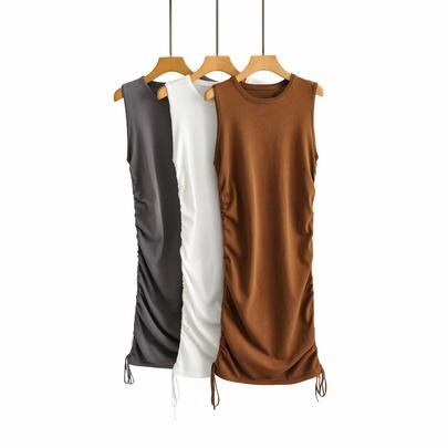 Sexy Drawstring Sleeveless Knitted Dress NSAM50352