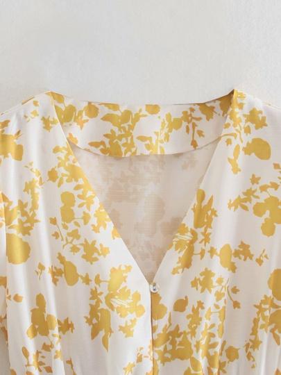 Printed V-neck Short-sleeve Dress NSAM50353