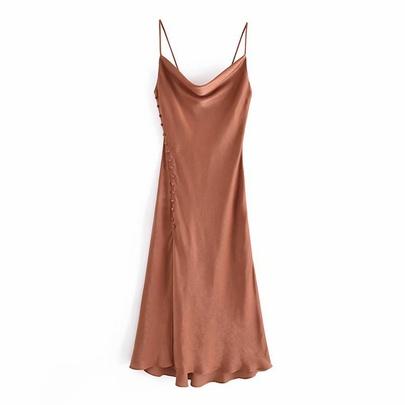 Silk Satin Texture Suspender Dress  NSAM50357