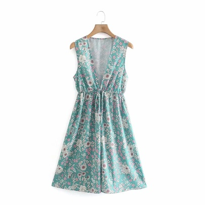 V-neck Drawstring Print Sleeveless Dress  NSAM50358