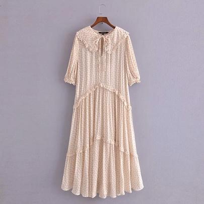 Doll Collar Flower Print Loose Dress NSAM50372