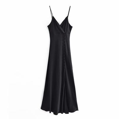 Spring Silk Satin Texture Suspender Dress NSAM50373