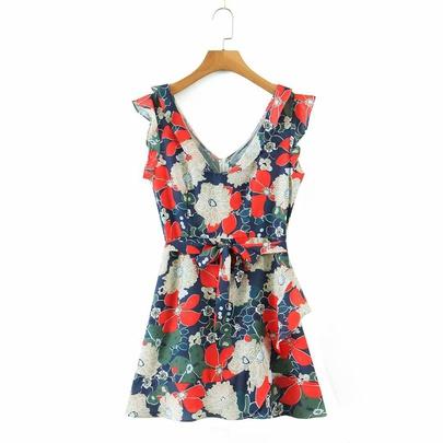 New V-neck Sleeveless Waist Tie Dress NSAM50376
