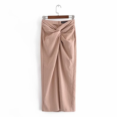 Spring Texture Knotted Midi Skirt  NSAM50378