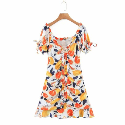 Retro V-neck Drawstring Tie Base Dress NSAM50380