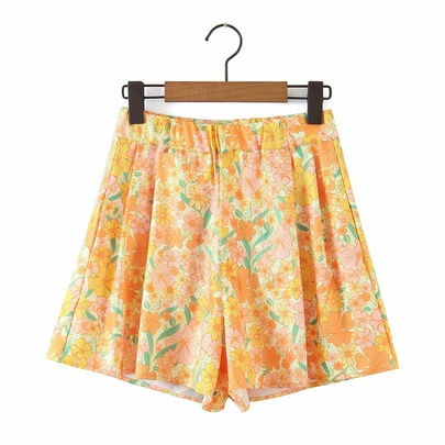Slim Wide-leg Printed Casual Shorts NSAM50381