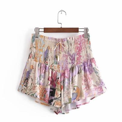 Ruched Floral Print Shorts NSAM50382