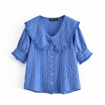 Spring Lapel Striped Short-sleeved Shirt NSAM50385