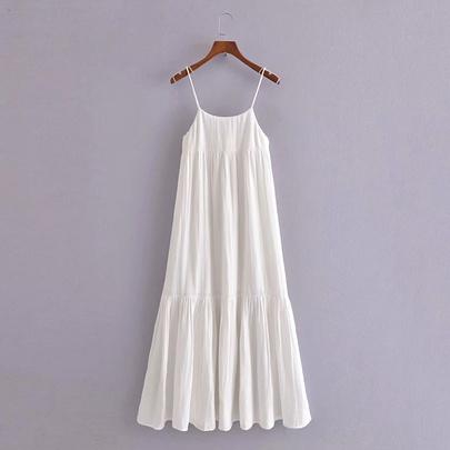 Spring Stitching Midi Sling Dress NSAM50386