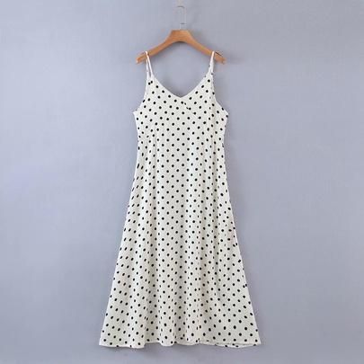 Retro V-neck Holiday Style Printing Suspender Dress NSAM50389