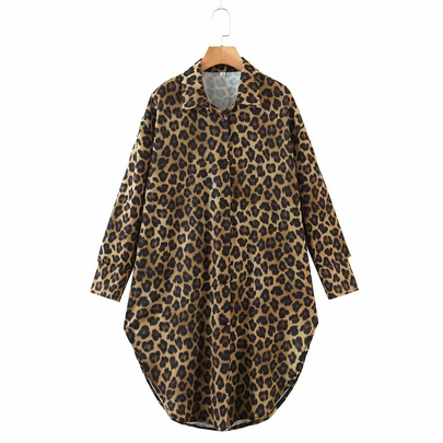 New Leopard Print Mid-length Shirt  NSAM50390