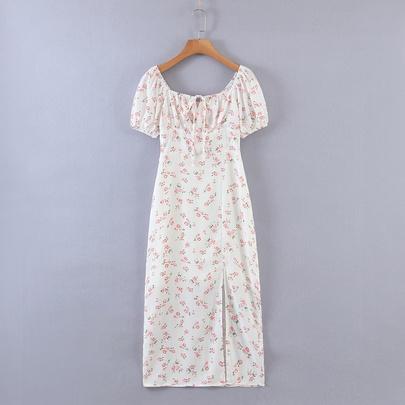 Retro Square Collar Floral Dress NSAM50406
