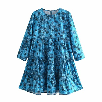 Spring Flower Printing Long-sleeved Dress NSAM50409