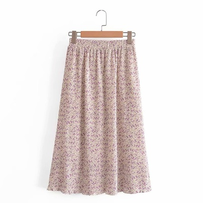 New Chiffon Pleated Floral Pleated Skirt NSAM50416