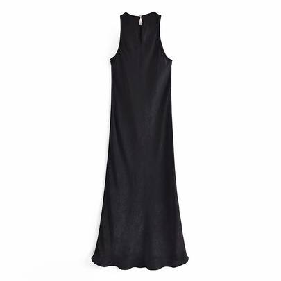 Spring Sleeveless Black Dress  NSAM50421