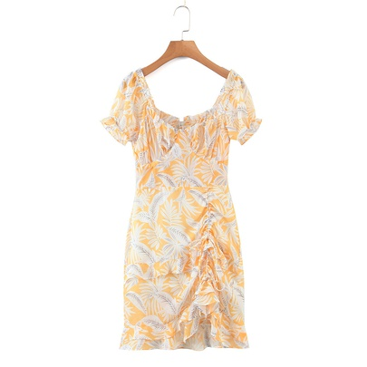 Spring Print Ruffled Slim Waist Dress NSAM50422