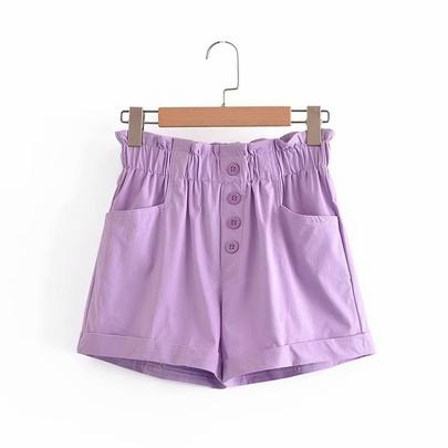 Flower Buttons Elastic High Waist Wide Leg Loose Pants NSAM50424