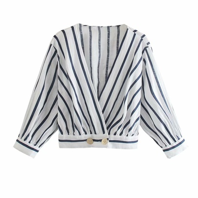 Spring Striped Linen Blouse NSAM50429