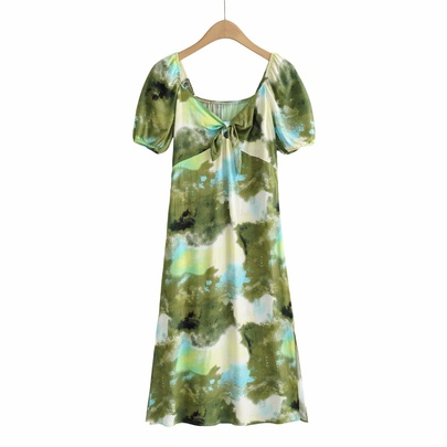 Hollow Square Neck Knotted Tie-dye Long Dress NSAM50430
