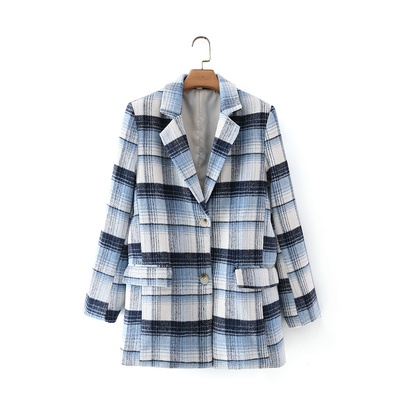 Contrast Color Check Double Pocket Blazer NSAM49915