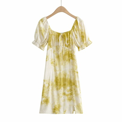 New Square Neck Tie-dye Dress NSAM50454