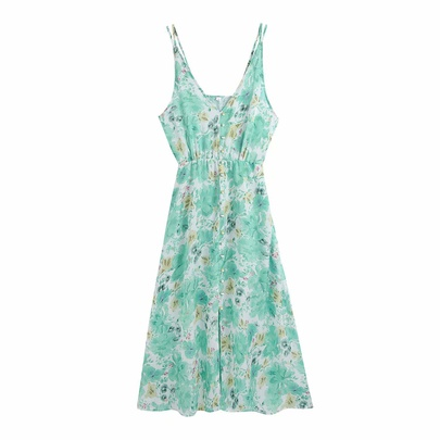 Spring Flowers Printed Suspender Dress NSAM50461