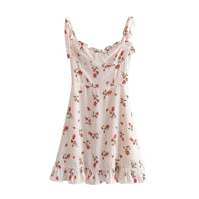 Spring Floral Print Slim Suspender Dress  NSAM50473