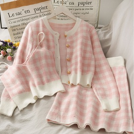 Fashion Knitted Tops & Skirts Three-piece  NHSUO50628