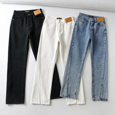 Irregular Split Thin Denim Pants NSHS50538
