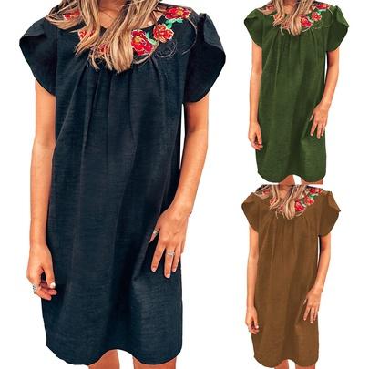 Summer New Round Neck Short-sleeved Dress NSKL50591