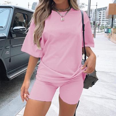 Solid Color Short Sleeve & Shorts Set NSYKD50635