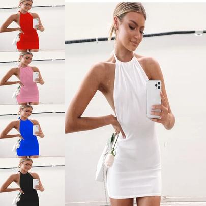 New  Sling Halter Color Dress NSYKD50640