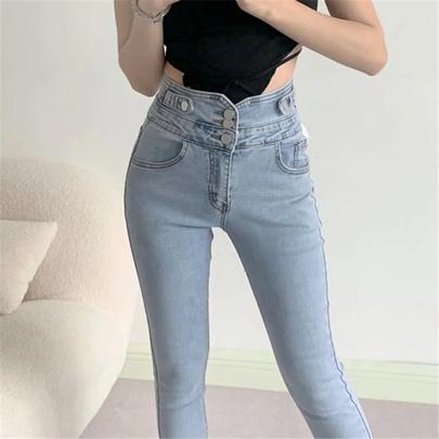 High Waist Slim Denim Pants NSAC50794