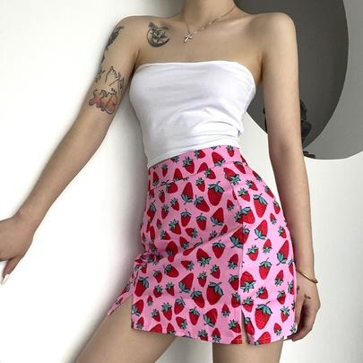 New Summer Cherry Print High Skirt NSMEI50857