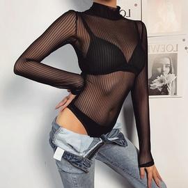 Sexy Halter Net Yarn Perspective Bodysuit NSMEI50895